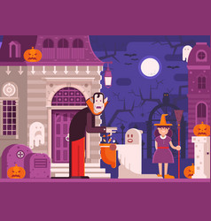 trick or treat kids halloween background vector image