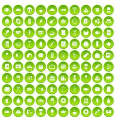 100 cafe icons set green circle vector