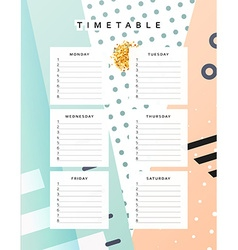 Planner calendar schedule the week abstract design vector