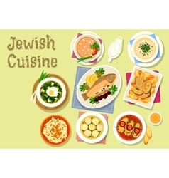 Jewish cuisine traditional dishes for dinner icon vector