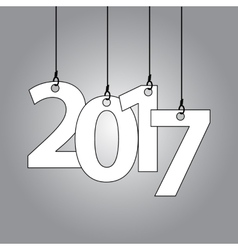 New year card with hanging numbers vector