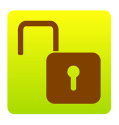 Unlock sign   brown icon at vector