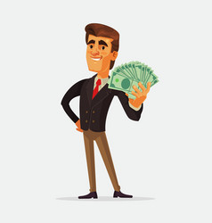 Happy rich businessman character vector