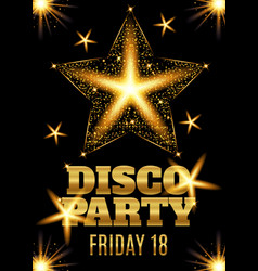 Disco party poster template with shining gold star vector