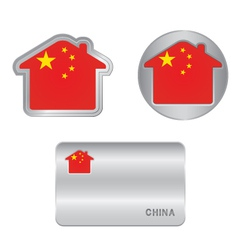 Home icon on the china flag vector