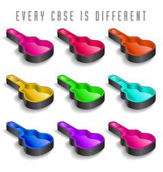 A rainbow of nine guitar cases vector