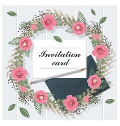 Invitation card collection on wooden background 5 vector