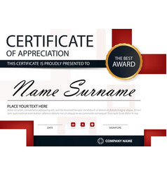 Red black elegance horizontal certificate template vector