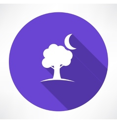 Tree and moon icons vector