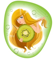 Girl with long hair holds an kiwi fruit template vector