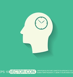 Icon head think silhoutte man and his mind about c vector