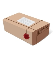 Box post package with a wax seal and icons vector