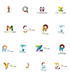 Set of colorful abstract letter corporate logos vector