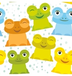 Cute cartoon funny frog set yellow green blue vector