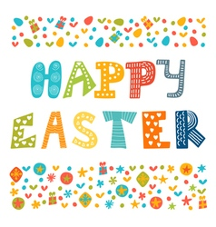 Happy easter greeting card with cute design vector