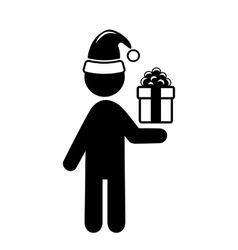 Christmas shopping man with gift box flat black vector