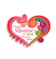 Quilling paper heart happy valentine day vector