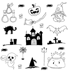 Castle cat ghost hat element of halloween doodle vector