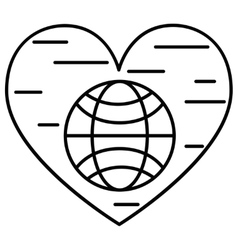 Planet and heart line icon vector