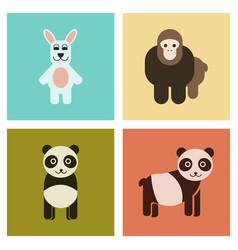 Assembly flat icons nature panda monkey rabbit vector