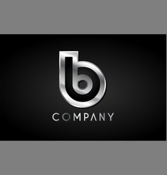 B silver metal alphabet letter icon design vector