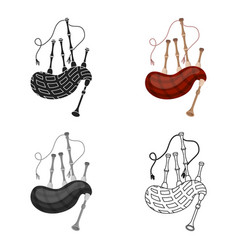Bagpipes icon in cartoon style isolated on white vector