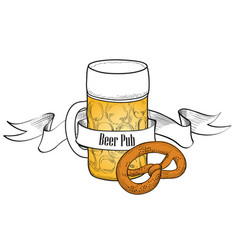 beer mug symbol full beer glass with snack beer vector image vector image