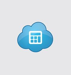 Blue cloud calculator icon vector