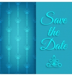 Blue lace save the date vector