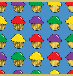 bright cream cupcake seamless pattern vector image