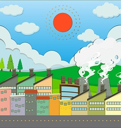 Buildings and factory along the road vector image vector image