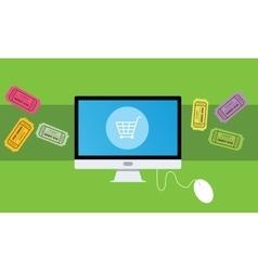 buying an ticket online vector image