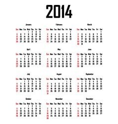 Calendar for 2014 vector image