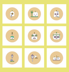 Collection of icons in flat style halloween party vector
