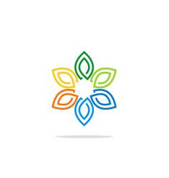 colorful flower decoration leaf logo vector image