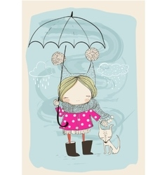 Cute girl with dog and umbrella vector