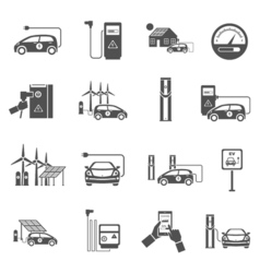 Electric Car Charging Black Icons Set vector image vector image