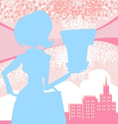 fashion girl Shoppingpink and blue abstract vector image