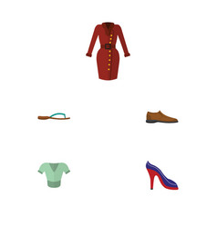 flat icon clothes set of male footware heeled vector image