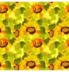Floral sunflower and leafs seamless pattern vector