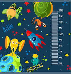 funky monsters with a rockets and planets in space vector image vector image