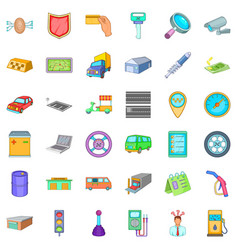 Gas station icons set cartoon style vector