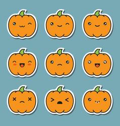 Halloween kawaii cute pumpkin icons isolated on vector
