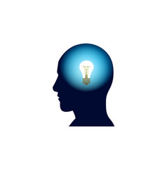 Head with light bulb in brain brainstorm thinking vector