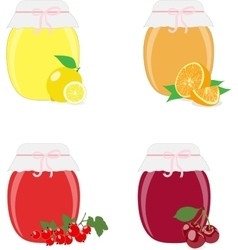 Jam jars lemons oranges currants and cherries vector