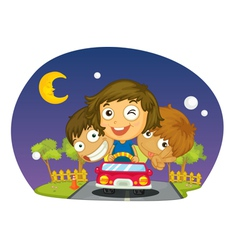 Kids driving vector image vector image
