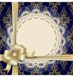 lace cloth with gold bow vector image vector image