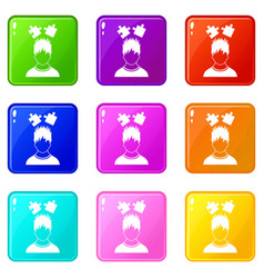Man with puzzles over head icons 9 set vector