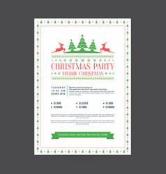 Neat framed christmas party invitation postcard vector
