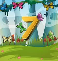 Number seven with 7 butterflies in garden vector